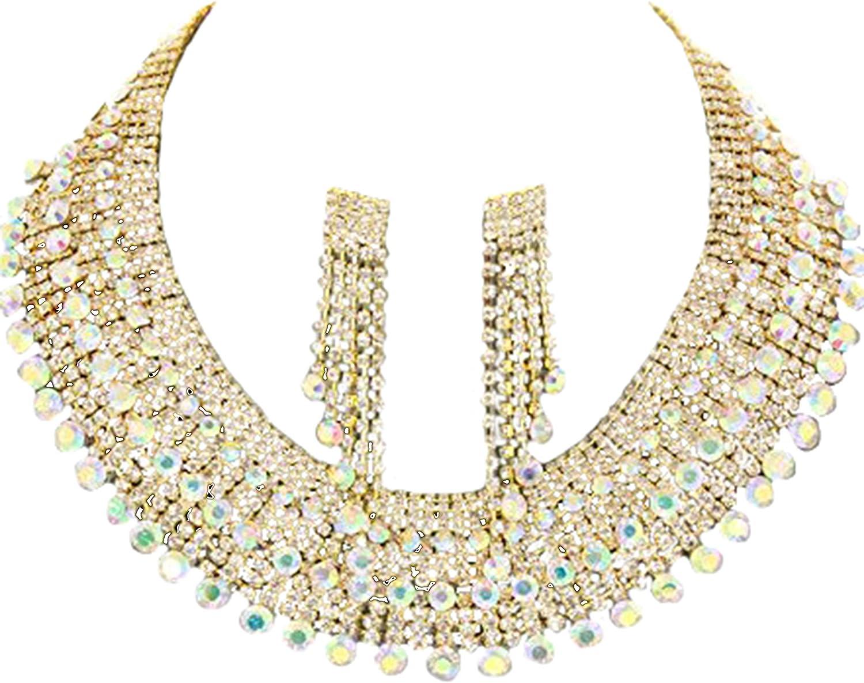 Jesi Madison Collection Elegant Pave Stone Collar Necklace & Earring Set Aurora Borealis