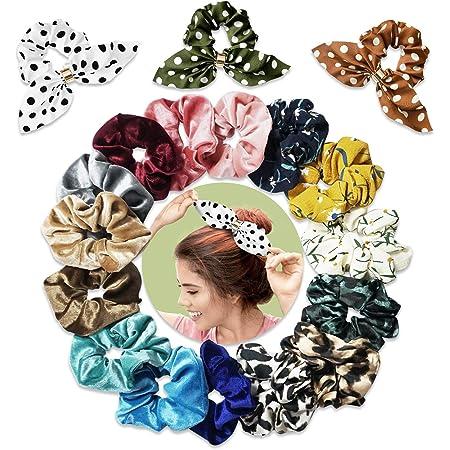 SYOSIN Cravatte per capelli, Scrunchies per ragazze Multicolore - Design retrò per ragazze, Fasce per capelli di qualità Premium, Fascia per capelli a coda di cavallo