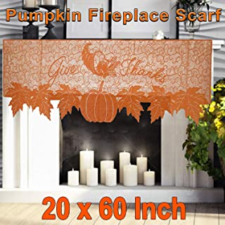 Thanksgiving Fireplace Decor,Fall Decor Fireplace Scarf Lace Fall Runner Mantle Scarves Cover for Thanksgiving Table Window Decoration Autumn Harvest Festival Party Seasonal Decoration (20x60 inches)