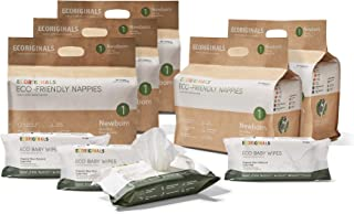 Ecoriginals Disposable Nappies and Baby Wipes Bundle - 5 Pack Newborn Nappies Size 1 (150 Count) & 4 Pack Organic Goat Mil...