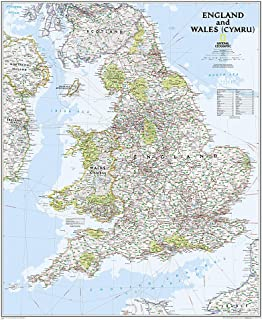 National Geographic: England and Wales Classic Wall Map - Laminated (30 x 36 inches) (National Geographic Reference Map)