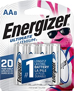 Energizer AA Lithium Batteries, World's Longest Lasting Double A Battery, Ultimate Lithium (8 Battery Count) - Packaging May Vary