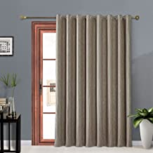 Melodieux Elegant Cotton Wide Blackout Thermal Insulated Grommet Top Curtains for Sliding Glass Door, 100 by 84 Inch, Coffee (1 Panel)