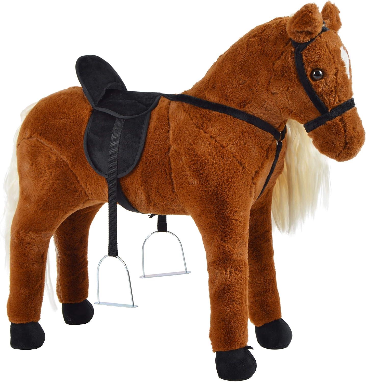 Pink Papaya Staand Paard om op te Zitten - 75 cm Pluchen Paard - Polly - met Geluid Bella