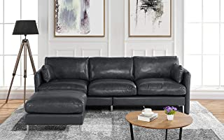 Modern Leather Sectional Sofa, L Shape Couch, 93.7
