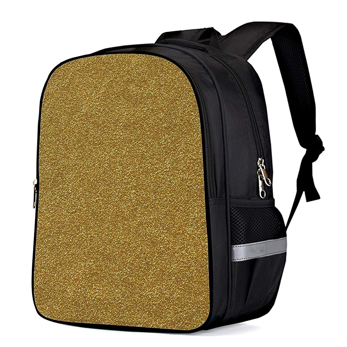 Kids School Backpack Travel Durable Oxford Fabric Daypack, Golden Bump Texture Gold Foil Paper Student Schoolbag with Pockets for Boys/Girls 13 x 11 x 6in