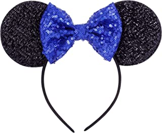 NG Seven Royal Blue Mouse Ears Headbands Butterfly Glitter Hairband,Minnie Sequin Ears Mickey Sequin Ears Adult Minnie Ears Sparkly Minnie Ears …