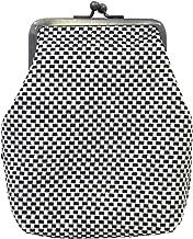 刺し子 がま口 カラビナ付きポーチL 12×15cm マチ4cm sk-006