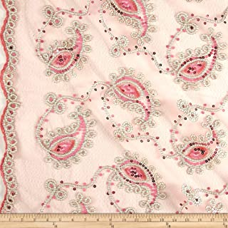 Ben Textiles Coral and Gold Coco Paisley Sequin Double Border Lace Fabric by The Yard