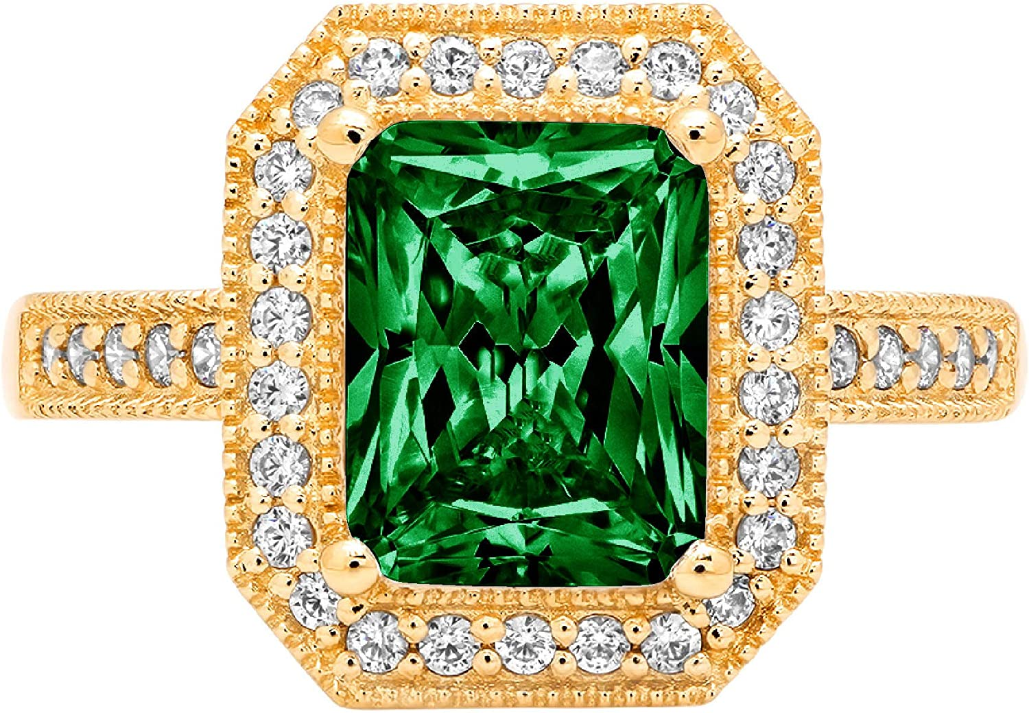 2.78ct Brilliant Emerald Cut Solitaire with Accent Halo Flawless Ideal VVS1 Simulated CZ Green Emerald Engagement Promise Statement Anniversary Bridal Wedding Designer Ring 14k Yellow Gold