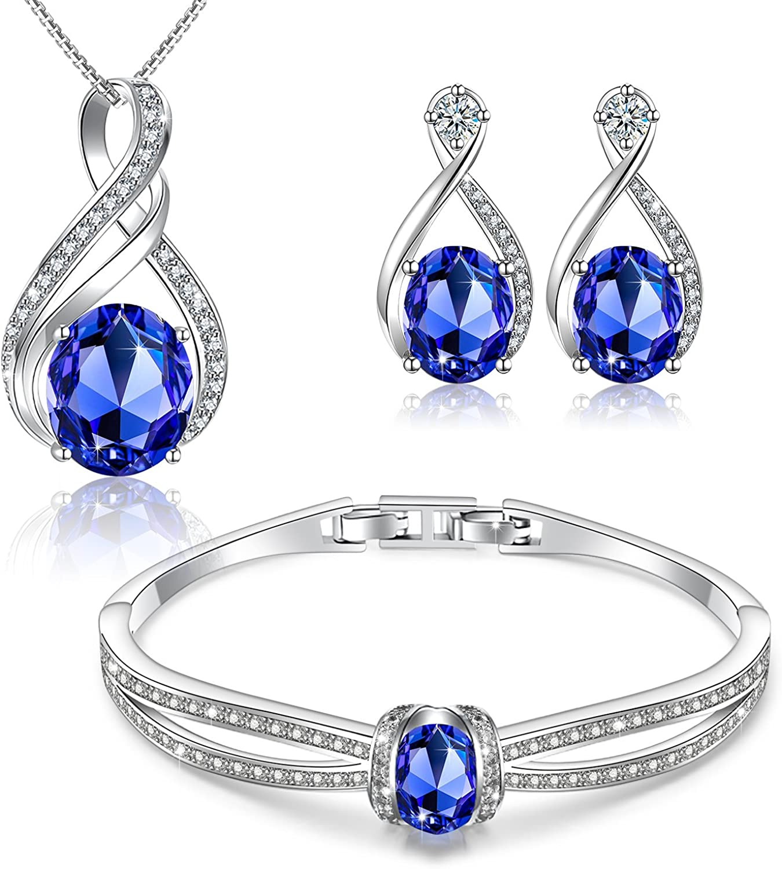 Menton Ezil Charming Nobile Swarovski Crystal Jewelry Sets with Sapphire Blue Necklace 18K White Gold Bracelet Earrings for Women