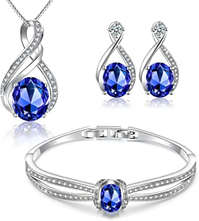 Charming Nobile Swarovski Jewelry Sets with Sapphire Blue Necklace 18K White Gold Bracelet Earrings for Women
