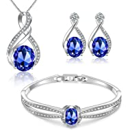 Menton Ezil Charming Nobile Swarovski Jewelry Sets with Sapphire Blue Necklace 18K White Gold...