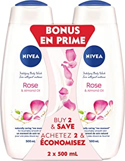 NIVEA Care & Roses Body Wash (2 x 500mL), Body Wash for All Skin Types, Liquid Soap with White Rose Petal Scent & Almond Milk