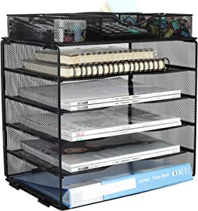 EasyPAG 5 Tier Desk File Shelf Mailroom Mail Sorter Paper Letter Trays with Drawer Organizer for Home & Office | Screws Free Design,Black