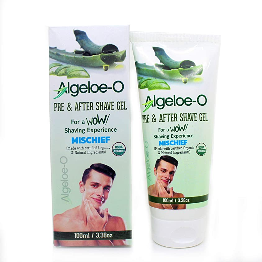伴う無視できる猫背Aloevera Pre And After Shave Gel - Algeloe O Made With Certified USDA Organic And Natural Ingredients - Mischief 100 ml (3.38 Oz.)