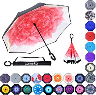 Z ZAMEKA Double Layer Inverted Umbrellas Reverse Folding Umbrella Windproof UV Protection Big Straight Umbrella Inside Out Upside Down for Car Rain Outdoor with C-Shaped Handle, Lotus