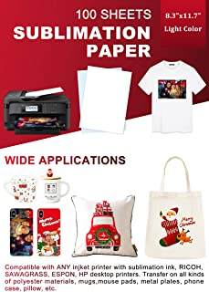 Sublimation Paper 100 Sheets 8.3 x 11.7 Inches, for Any Inkjet Printer with Sublimation Ink Epson, HP, Canon Sawgrass, Heat Transfer Sublimation for Mugs T-shirts Light Fabric