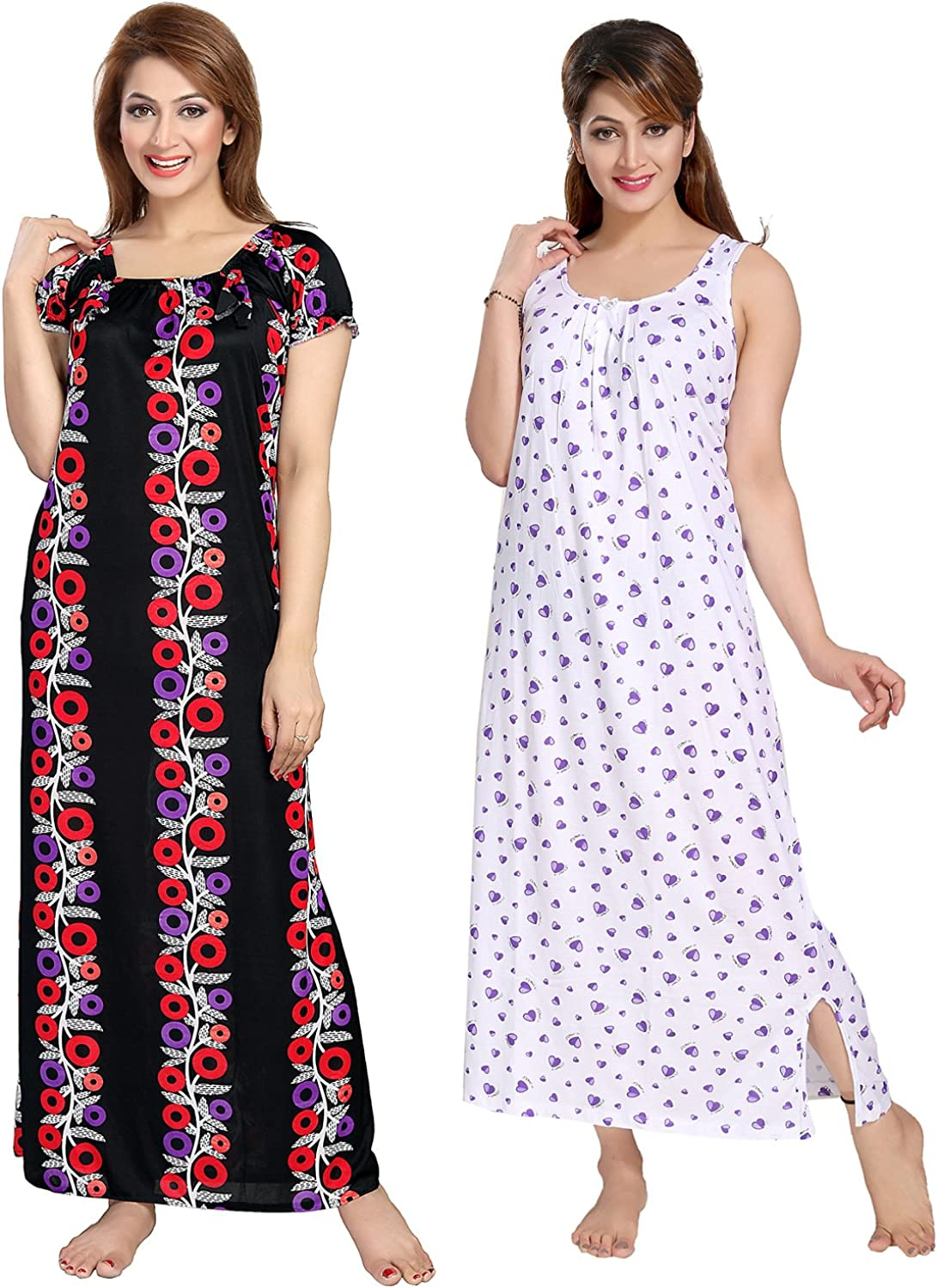 Be You Serena Satin BlackWhite Women Floral Printed Nightgowns Combo pack of 2
