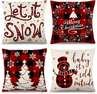 ZJHAI Christmas Pillow Covers 18×18 Inch Set of 4 Farmhouse Black and Red Buffalo Plaid Pillow Covers Holiday Rustic Linen...