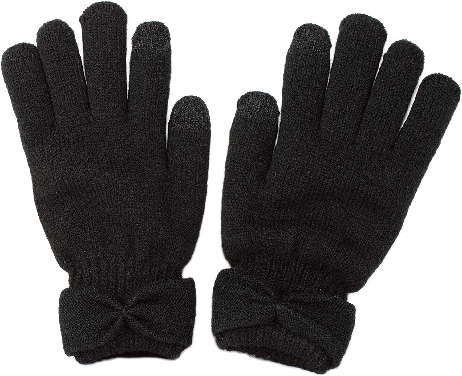 Cute Classic Black Warm Winter Double Layer Chenille Lined Touch Screen Tech Gloves with Bow