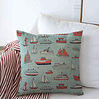 Starodet Pillow Case Nursery Boy Water Transport Line Pattern Launch Sailboat Baby Boat Child Cruise Design Wave Farmhouse Decorative Throw Pillows Covers 18