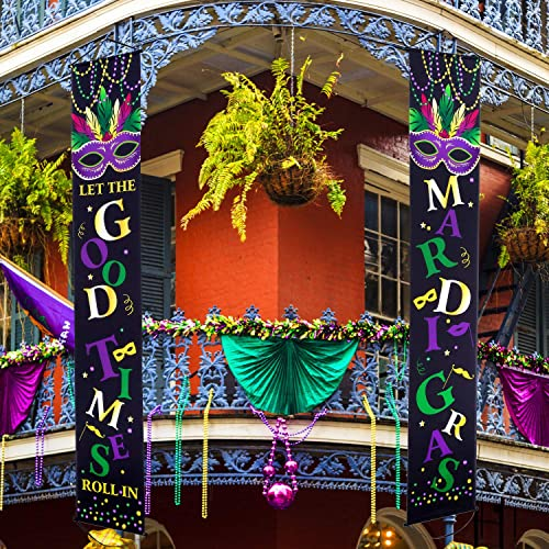 fe36e38f1df Blulu Mardi Gras Decoration Set Mardi Gras Porch Sign Welcome Banner Mardi  Gras Hanging Decoration for