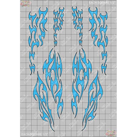 TRC8062P Dragon Tail Flames RC Body Custom Spray Paint Stencil//Mask Airbrush