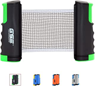 GSE Games & Sports Expert Anywhere Retractable Table Tennis Net and Post. Adjustable Replacement Ping Pong Net (4 Colors)