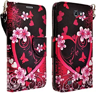 Kyocera Hydro Wave Case, Magnetic Leather Flip Wallet Pouch For Kyocera Hydro Wave C6740, Slim Folio Case with Kickstand, 2 Credit Card Slot Wallet Pouch (Hot Pink Heart Sensation)
