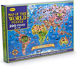 MAZYPO 200 Pieces World Map Jigsaw Puzzle of Learning & Education for Kids Raising Children Recognition and Memory Skill P...