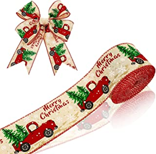15 Yards 2.5 Inch Wide Christmas Wired Edge Ribbon Christmas Vintage Truck Ribbon Wired Burlap Ribbon Christmas Party Truc...