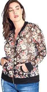 Women's Junior Plus Size Light Weight Printed Sheer Mesh Zipper Closure Jacket