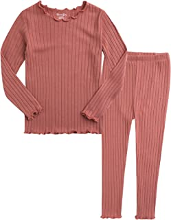 12M-7T Kids Unisex Girls & Boys Soft Comfy Modal Tencel Shirring Sleepwear Pajamas 2pcs Set