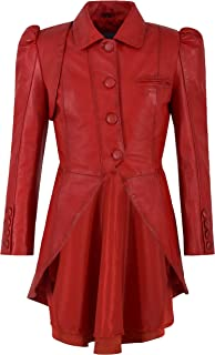Ladies Gothic Dovetail Real Leather Tailcoat Red Slim Fit...