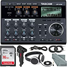 Tascam DP-006 6-track Digital Pocketstudio and Deluxe Accessory Bundle with Tascam Stereo Headphones, Table Top Tripod, SD...