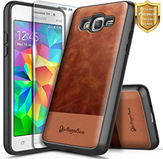 Galaxy Grand Prime Case, Galaxy J2 Prime Case, Go Prime w/[Tempered Glass Screen Protector], NageBee Premium Cowhide Leather Heavy Duty ShockProof Dual Layer Hybrid Defender Rugged Durable Case -Brown
