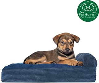 Furhaven Pet Dog Bed | Deluxe Orthopedic Faux Fleece & Corduroy Chaise Lounge Living Room Couch Pet Bed w/ Removable Cover for Dogs & Cats, Navy, Small