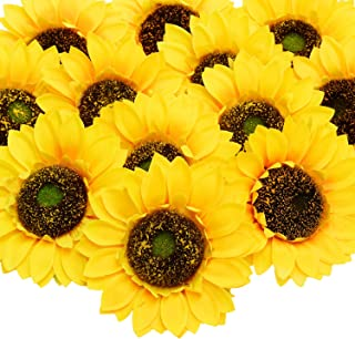 Artificial Sunflower Heads, 12 Pcs Silk Faux Sunflowers Yellow Gerber Daisies for DIY Wedding Fall Autumn Party Cupcake Hair Clip Wreath Topper Decoration, 5.9