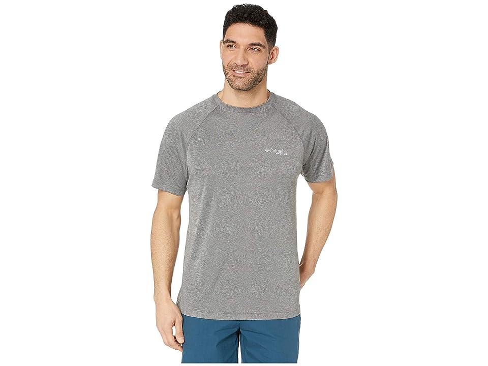 Columbia PFG Terminal Tackletm Short Sleeve Shirt (Charcoal Heather/Cool Grey Logo) Men
