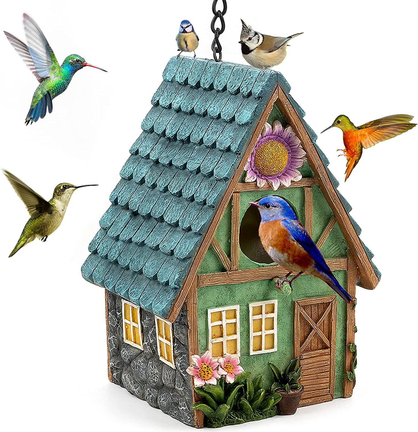 JIAYIWU Bird Houses for Outside, birdhouses, residences Used for Outdoor Bluebirds Tits?Hummingbirds? Swallows and Other Bird, Indoor and Garden Decoration