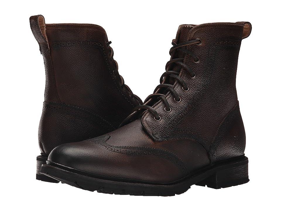 Frye James Lug Wingtip Boot Shearling (Dark Brown WP Soft Pebbled Full Grain) Men