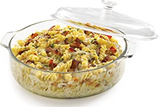 STAR WORK - Glass Casserole Deep Round - Oven and Microwave Safe Serving Bowl with Glass Lid 1000 ML