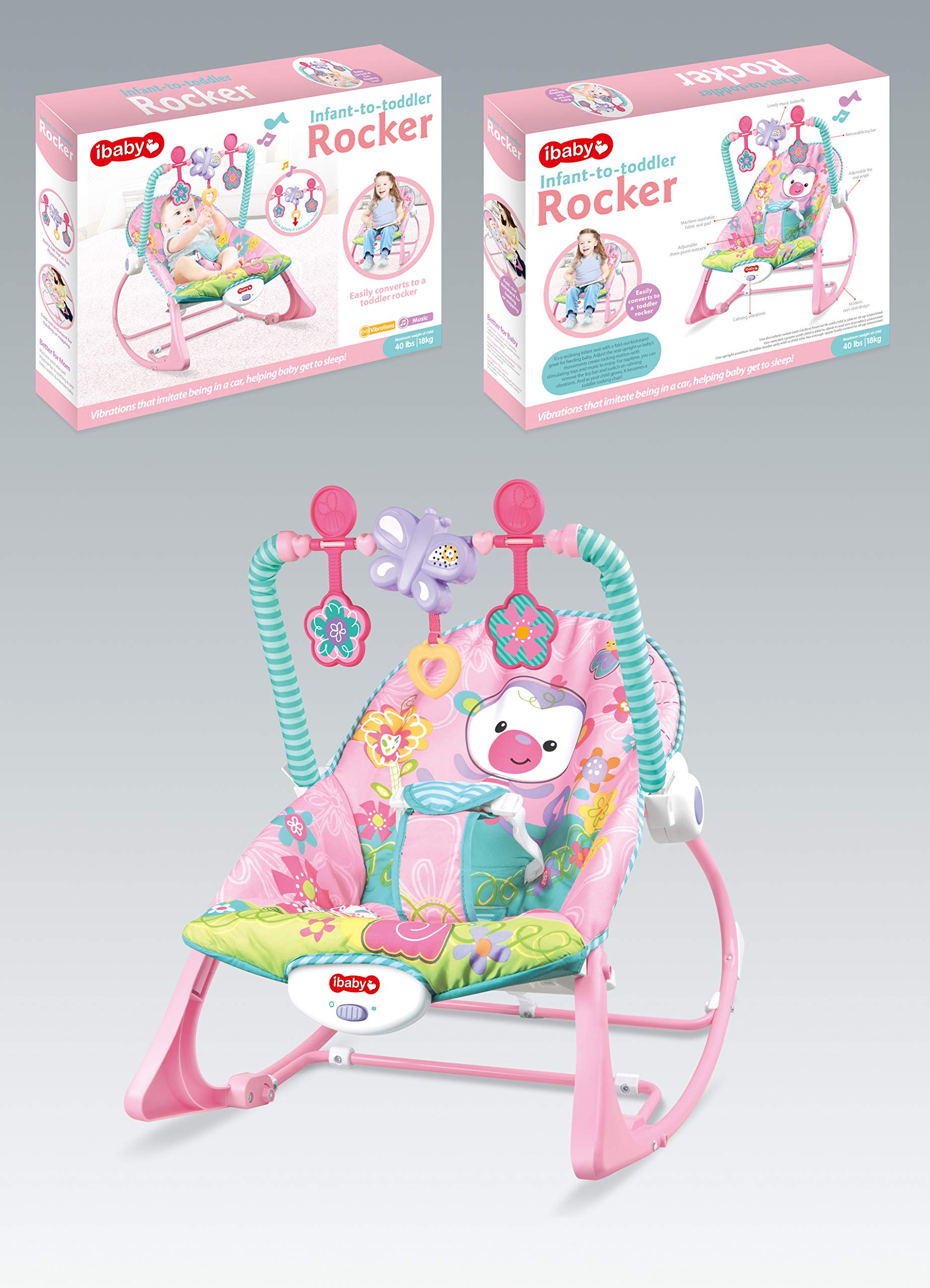 Infant to Toddlers Bouncing Rocker Newborn Vibration Baby Chair Pink