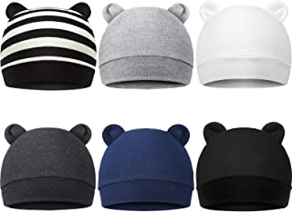 Geyoga 6 Pieces Newborn Baby Hat Bear Ears Infant Caps Baby Boy Girl Toddler Hats Infant Beanie Caps for 0-3 Months