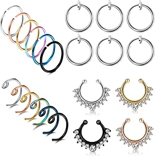 LOLIAS 22Pcs 20G Stainless Steel Fake Septum Ring Nose Hoop Ring Faux Lip Ear Non-Pierced Clip On Piercing Jewelry