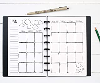 BetterNote 2020 Monthly Calendar for Disc-Bound Planners, Fits 8-Disc Levenger Circa Junior, Arc, Half Letter Size 5.5