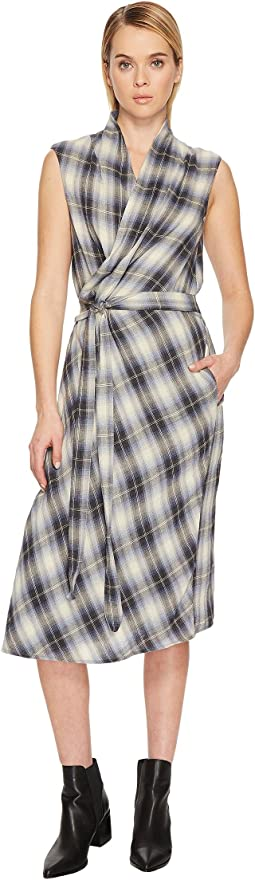 Vince Shadow Plaid Sleeveless Wrap Dress