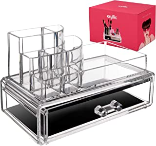 Acrylic Countertop Storage Makeup Organizer - Womens Nail polish make up brushes lipstick cosmetic brush jewelry holder with spacious bottom drawer counter display container for any vanity great gift!