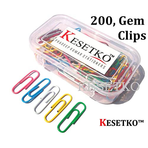 KESETKO® Paper Clips, U Clips, Gem Clips, 30mm, (200 PCS) Multicolored for Office, Home